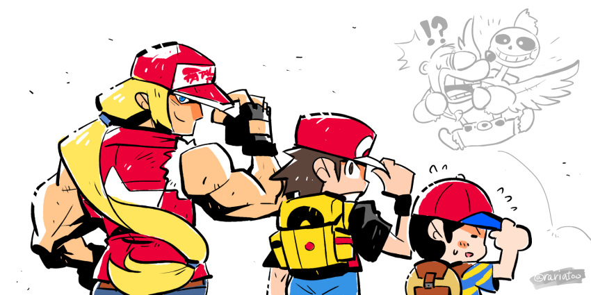 !? 5boys backpack bag banjo-kazooie banjo_(banjo-kazooie) baseball_cap bear biceps black_hair blonde_hair brown_hair fatal_fury fingerless_gloves flying_sweatdrops gloves hat hat_tip highres long_hair looking_at_viewer low-tied_long_hair mother_(game) mother_2 multiple_boys ness outfit_connection pokemon pokemon_(game) pokemon_frlg ponytail rariatto_(ganguri) red_(pokemon) red_headwear sans serious simple_background smile super_smash_bros. surprised sweatdrop terry_bogard the_king_of_fighters torn_clothes torn_sleeves twitter_username undertale white_background