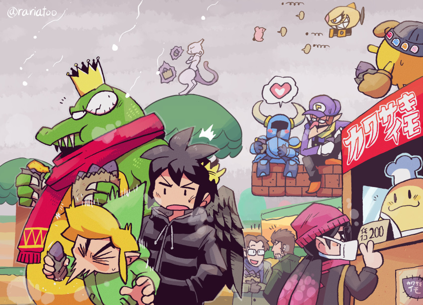 :3 aori_(splatoon) artist_name beanie brick bulging_eyes chef_kawasaki coat commentary dark_pit donkey_kong_(series) donkey_kong_country facial_hair floating floating_object food food_stand gen_1_pokemon glasses hal_emmerich hat heart helmet highres horned_helmet kabula kid_icarus kid_icarus_uprising king_k._rool kirby kirby's_dream_land kirby_(series) legendary_pokemon link looking_at_another looking_back mario_(series) mask metal_gear_(series) mewtwo mouth_mask mustache notice_lines outdoors pac-man pac-man_(game) pokemon pokemon_(creature) rariatto_(ganguri) scarf shovel_knight shovel_knight_(character) sneezing snowing solid_snake splatoon_(series) splatoon_1 spoken_heart stubble sunglasses super_smash_bros. surgical_mask sweet_potato telekinesis the_legend_of_zelda the_legend_of_zelda:_the_wind_waker toon_link translated tree twitter_username v waluigi winter winter_clothes |_|