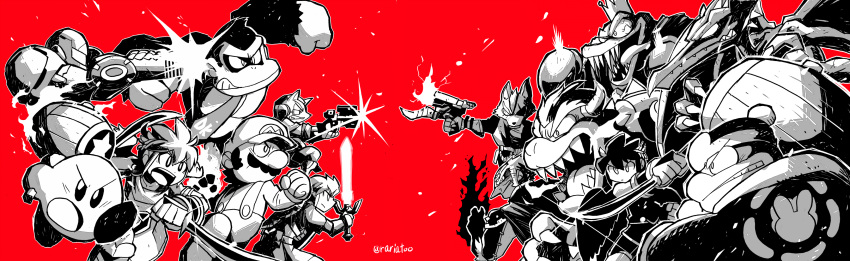 1girl 6+boys absurdres aiming arm_cannon artist_name battle bloodshot_eyes bowser boxing_gloves claws clenched_hands commentary_request crown dark_pit donkey_kong donkey_kong_(series) donkey_kong_country dual_wielding eyepatch facial_hair fangs flaming_hand flaming_weapon fox_mccloud ganondorf gloves glowing glowing_hand glowing_sword glowing_weapon gun hammer handgun highres holding horns kid_icarus kid_icarus_uprising king_dedede king_k._rool kirby kirby_(series) link mario mario_(series) master_sword metroid monochrome multiple_boys mustache necktie open_mouth overalls persona persona_5 pit_(kid_icarus) rariatto_(ganguri) red_background ridley samus_aran scouter star_fox super_smash_bros. the_legend_of_zelda the_legend_of_zelda:_breath_of_the_wild tongue tongue_out varia_suit weapon wolf_o'donnell