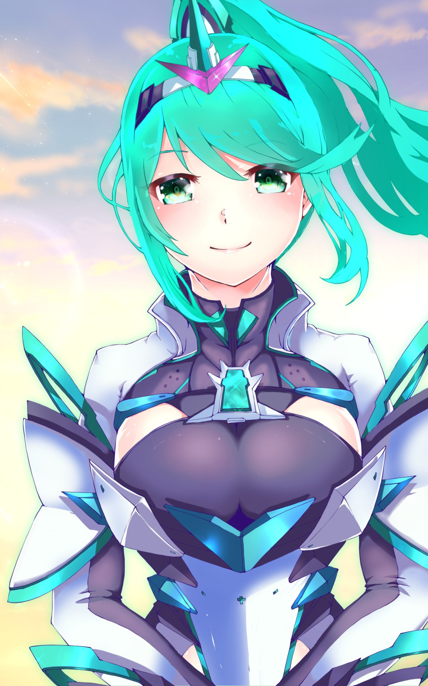 1girl absurdres bangs breasts clouds cloudy_sky gem green_eyes green_hair headpiece highres large_breasts long_hair looking_at_viewer outdoors pneuma_(xenoblade_2) ponytail risumi_(taka-fallcherryblossom) sky smile solo swept_bangs tiara xenoblade_(series) xenoblade_2