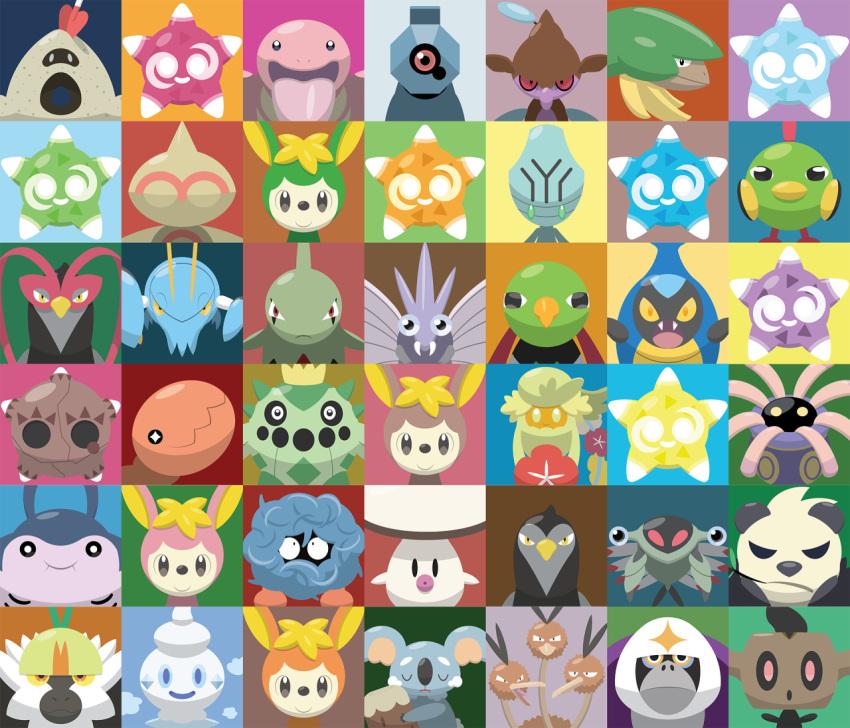 anorith baltoy beldum bird black_eyes cacnea clauncher closed_mouth comfey commentary creature deerling deerling_(autumn) deerling_(spring) deerling_(summer) deerling_(winter) dodrio elgyem english_commentary face foongus gen_1_pokemon gen_2_pokemon gen_3_pokemon gen_4_pokemon gen_5_pokemon gen_6_pokemon gen_7_pokemon green_eyes horn karrablast larvitar lickitung lileep looking_at_viewer mantine minior multiple_heads natu no_humans oranguru passimian phantump pokemon pokemon_(creature) sandygast shawn_flowers skrelp smile tangela tongue tongue_out trapinch unfezant unfezant_(female) unfezant_(male) vanillite venomoth xatu yellow_eyes