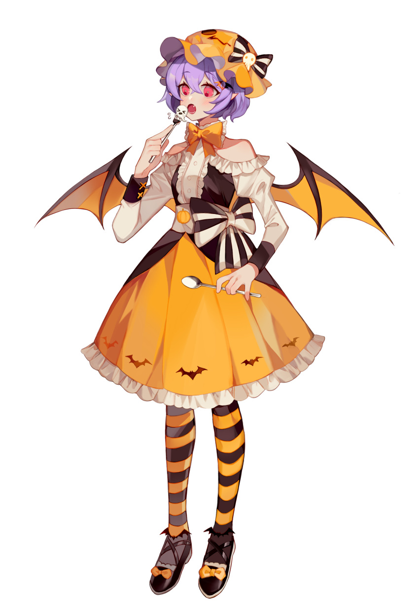 1girl absurdres bat_wings black_bow black_legwear bow commentary_request dress eyebrows_visible_through_hair fang fork full_body hair_between_eyes halloween hat hat_bow highres holding holding_fork holding_spoon long_sleeves orange_dress orange_headwear orange_legwear pantyhose red_eyes remilia_scarlet simple_background solo spoon striped striped_legwear touhou two-tone_bow vampire white_background white_bow wings yayako_(804907150)