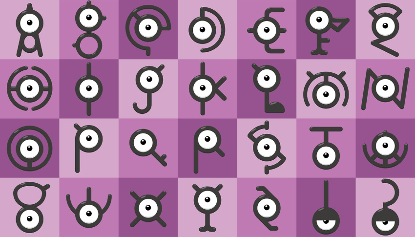 black_eyes commentary creature english_commentary full_body gen_2_pokemon looking_at_viewer no_humans pokemon pokemon_(creature) shawn_flowers unown unown_! unown_? unown_a unown_b unown_c unown_d unown_e unown_f unown_g unown_h unown_i unown_j unown_k unown_l unown_m unown_n unown_o unown_p unown_q unown_r unown_s unown_t unown_u unown_v unown_w unown_x unown_y unown_z