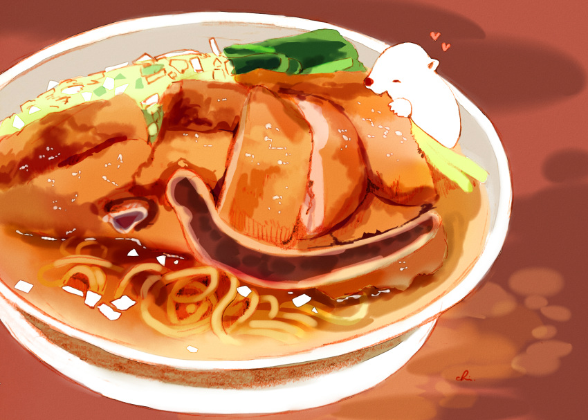 1other artist_name bear bowl chai commentary_request eating food heart highres no_humans noodles original plate pork sitting_on_food soup