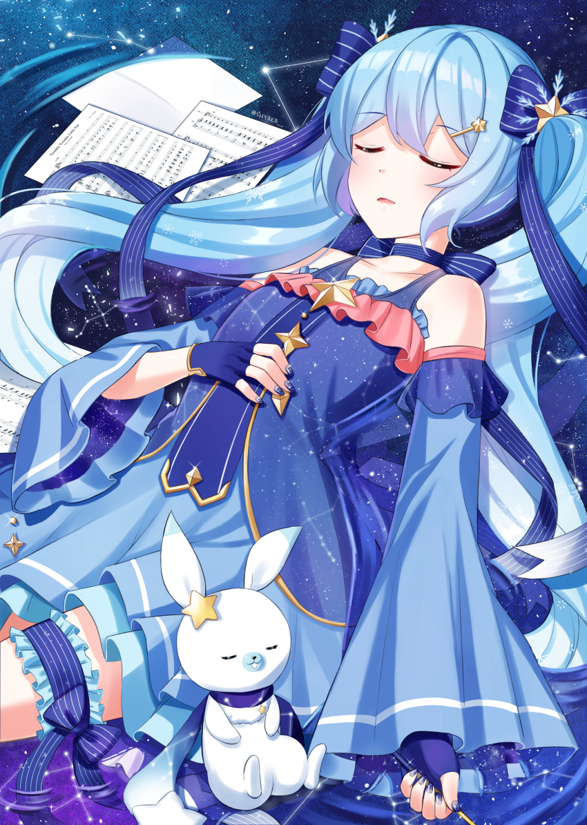 1girl absurdres bare_shoulders blue_dress blue_hair blue_nails closed_eyes commentary constellation constellation_print detached_sleeves dress fingerless_gloves frilled_dress frills gloves hair_ornament hair_ribbon hairclip hatsune_miku highres holding holding_wand jewelry layered_skirt light_blush nail_polish neck_ribbon parted_lips pendant rabbit rabbit_yukine ribbon scarf sheet_music shyaka skirt sky sleeping snowflake_hair_ornament snowflake_print space star star_(sky) star_hair_ornament star_print starry_background starry_sky striped striped_ribbon thigh_scrunchie vocaloid wand yuki_miku yuki_miku_(2017)
