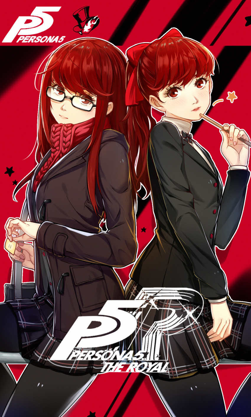 1girl alternate_hairstyle atlus bag black_bow black_jacket blush bow buttons closed_mouth commentary_request cute dual_persona glasses hair_between_eyes hair_bow highres holding holding_bag ijuun jacket lips logo long_hair looking_at_viewer megami_tensei open_mouth parted_lips persona persona_5 persona_5_the_royal pocket ponytail red_bow red_eyes red_scarf redhead scarf school_bag school_uniform sega shin_megami_tensei shuujin_academy_uniform skirt spoilers star thigh-highs uniform yoshizawa_kasumi