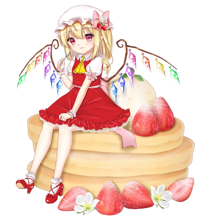 1girl :3 ankle_socks arm_up blonde_hair blush commentary_request eyebrows_visible_through_hair flandre_scarlet flower food food_themed_hair_ornament fork fruit hair_between_eyes hair_ornament hairclip hand_on_lap hat hat_flower hat_ribbon high_heels highres holding holding_fork ice_cream light_smile looking_at_viewer medium_hair minigirl mob_cap nyanyanoruru pancake partial_commentary petticoat pointy_ears puffy_short_sleeves puffy_sleeves red_eyes red_footwear red_skirt red_vest ribbon shirt short_sleeves simple_background single_drill sitting sitting_on_food skirt skirt_hold skirt_set solo strawberry strawberry_blossoms strawberry_hair_ornament touhou vest white_background white_headwear white_legwear white_shirt wings wrist_cuffs yellow_neckwear