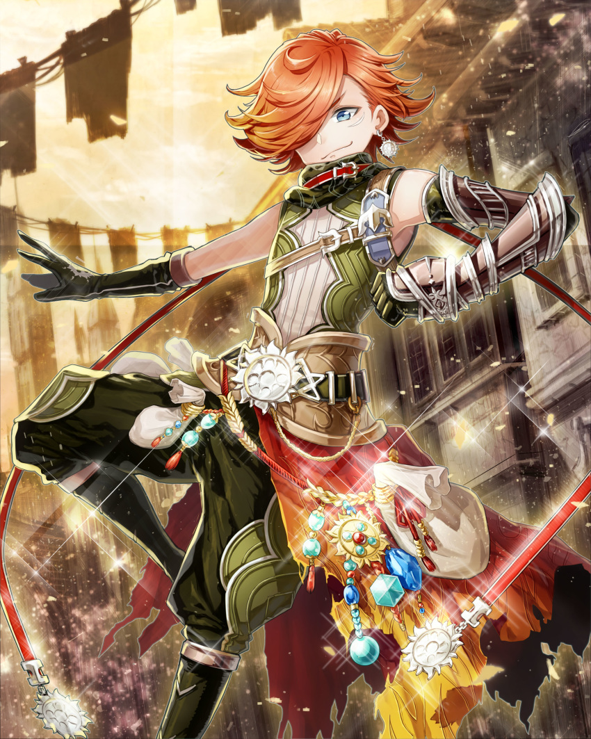 absurdres androgynous asahiao belt belt_buckle blue_eyes bracer buckle clenched_hand earrings gem glint gloves green_gloves hair_over_one_eye highres jewelry official_art orange_hair outdoors pouch solo standing standing_on_one_leg twilight