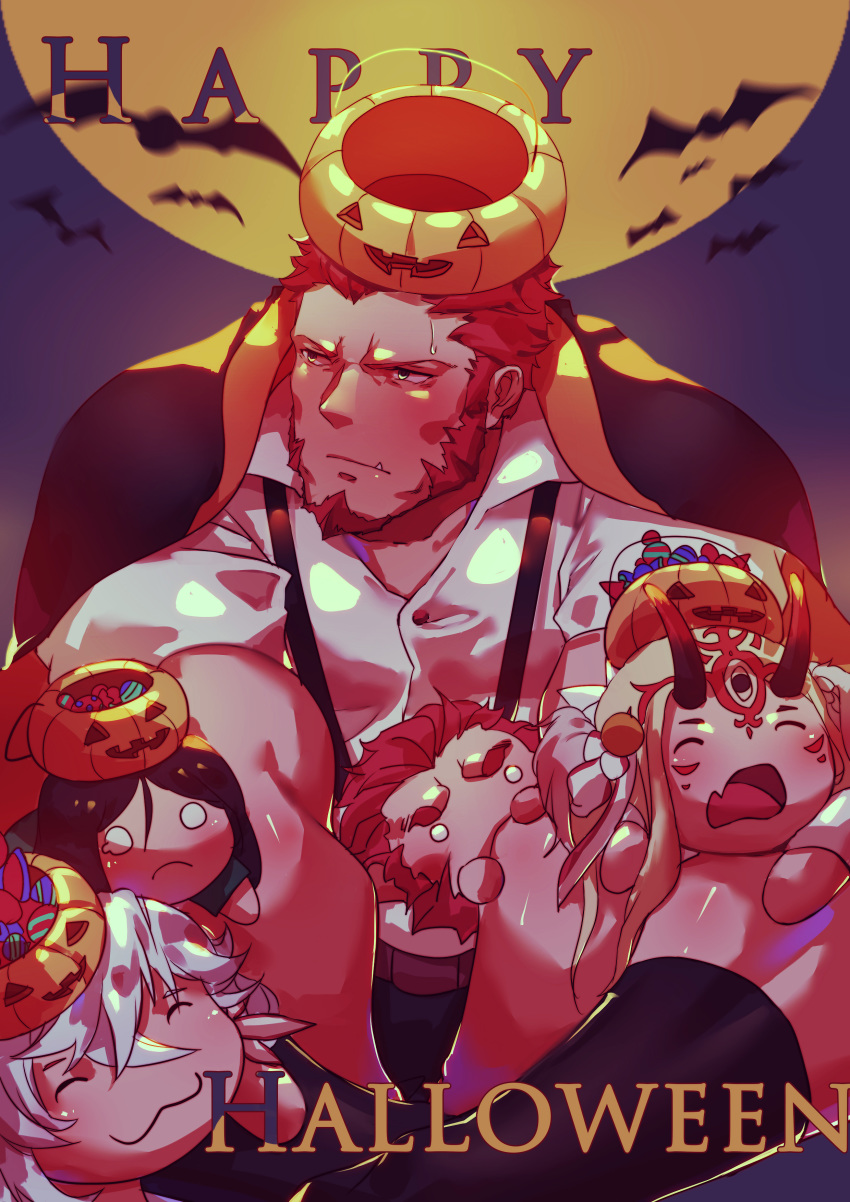 1boy absurdres bara beard blue_eyes blush brown_hair candy chest doll facial_hair fang fate/grand_order fate_(series) food guoguo halloween highres ibaraki_douji_(fate/grand_order) male_focus merlin_(fate) muscle napoleon_bonaparte_(fate/grand_order) open_clothes pants pectorals pumpkin rider_(fate/zero) simple_background socks solo sweatdrop thick_thighs thighs