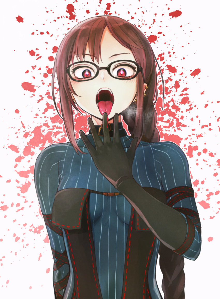 1girl bangs black_dress blood blood_splatter blush braid breasts breath brown_hair consort_yu_(fate) dress ear_piercing earrings eyebrows_visible_through_hair fate/grand_order fate_(series) glasses highres jewelry kou1 long_hair looking_at_viewer medium_breasts multiple_earrings music open_mouth piercing pinstripe_pattern red_eyes singing solo striped tongue upper_body white_background