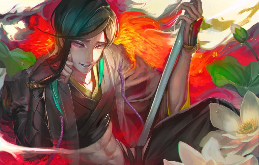 1boy bangs black_hair chin_rest egawa_akira feather_boa flower highres japanese_clothes kimono lily_pad lotus male_focus parted_bangs shizukagata_naginata smile solo touken_ranbu