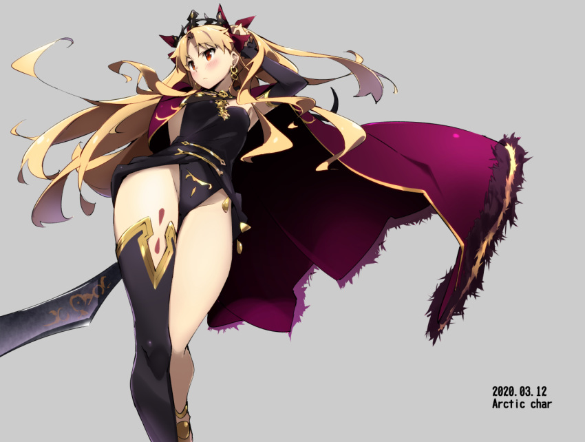1girl asymmetrical_legwear bangs blonde_hair cape diadem earrings ereshkigal_(fate/grand_order) fate/grand_order fate_(series) gold_trim hoop_earrings jewelry long_hair parted_bangs purple_cape red_cape red_eyes single_thighhigh skull solo spine tabata_hisayuki thigh-highs tiara two_side_up very_long_hair