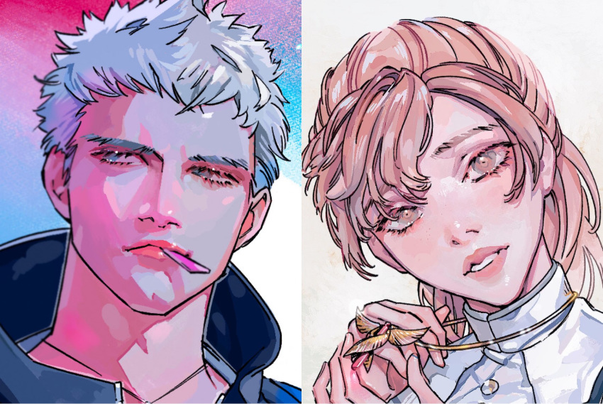 1boy 1girl blue_eyes brown_eyes brown_hair chewing_gum closed_mouth devil_may_cry devil_may_cry_4 devil_may_cry_5 face glint highres jewelry johngaramond kyrie long_hair necklace nero_(devil_may_cry) parted_lips pink_lips ponytail white_hair