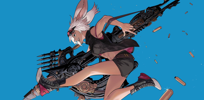 1girl animal_ears bare_legs blue_eyes bunny_girl byuub crop_top dark_skin final_fantasy final_fantasy_xiv goggles goggles_on_head gun jacket jumping machinist_(final_fantasy) midriff navel open_clothes open_jacket open_mouth rabbit_ears shell_casing shoes short_hair shorts strap strap_slip viera weapon white_hair