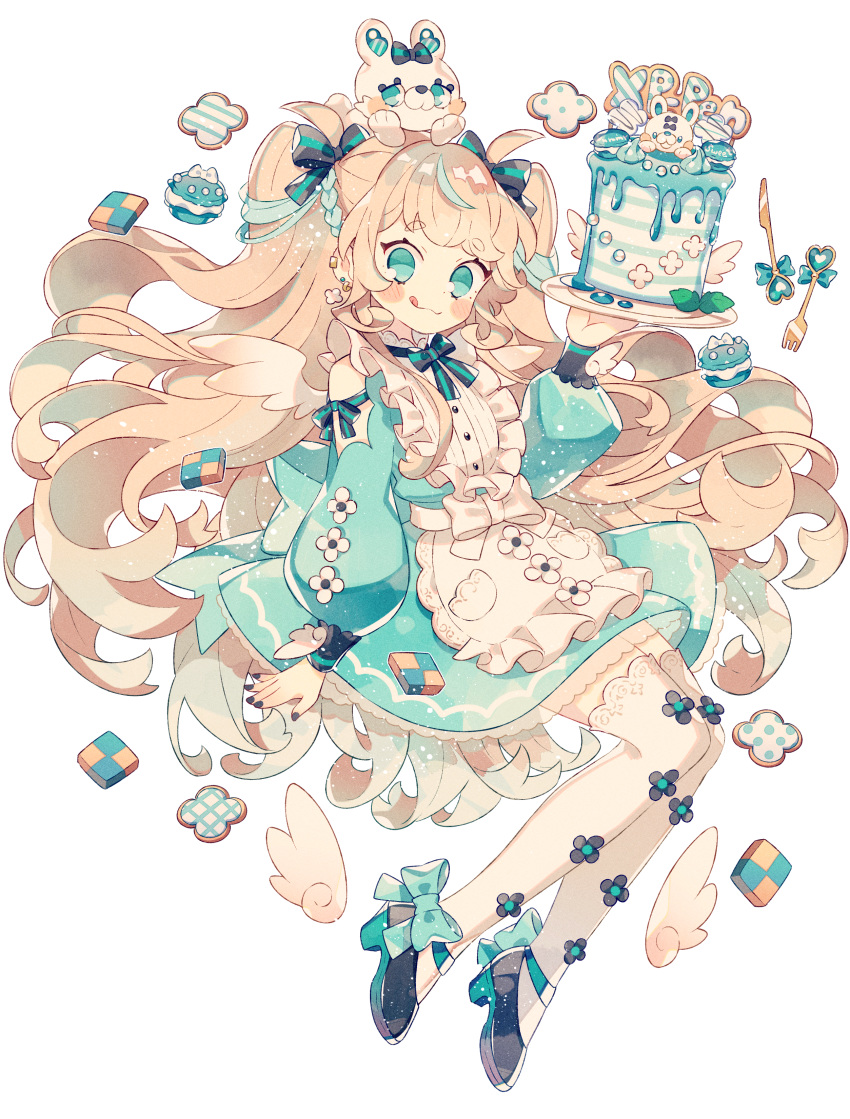 1girl absurdres black_bow black_nails blonde_hair blue_eyes blush bow cake candy checkerboard_cookie cookie ear_piercing food fork full_body hair_bow highres knife licking_lips long_hair long_sleeves looking_at_viewer macaron original piercing simple_background solo sweets thigh-highs tongue tongue_out very_long_hair wakanagi_eku white_background white_legwear wings