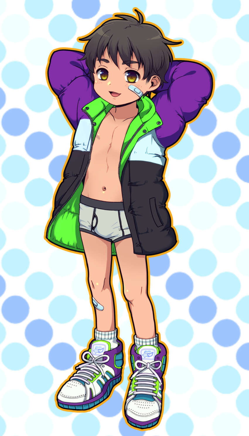 1boy arms_behind_head bandaid bandaid_on_face blush briefs brown_eyes brown_hair down_jacket edging_briefs full_body highres looking_at_viewer male_focus oginy original shoes smile sneakers solo underwear