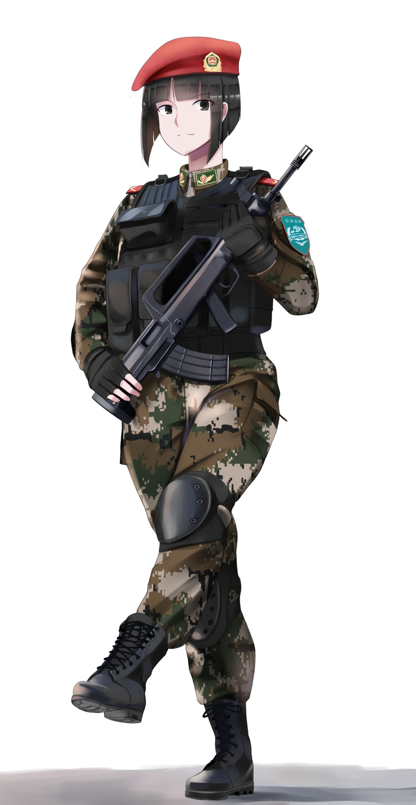 1girl absurdres assault_rifle bangs beret black_eyes black_hair blunt_bangs bob_cut boots bullpup china combat_boots commentary digital_camouflage epaulettes fingerless_gloves gloves gun hat highres knee_pads load_bearing_vest looking_at_viewer marching military nguyen_tam_lee original qbz-95 rifle short_hair simple_background soldier solo weapon white_background