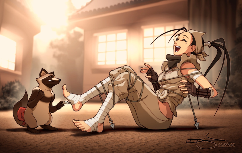 1girl ankle_wrap bandage barefoot bdsm black_hair bondage bound capcom closed_eyes don_(street_fighter) feet foot_tickling gloves hip_vent ibuki_(street_fighter) laughing long_hair ninja omar_dogan open_mouth ponytail short_hair signature street_fighter street_fighter_iii_(series) tanuki tickling tied_up toeless_legwear