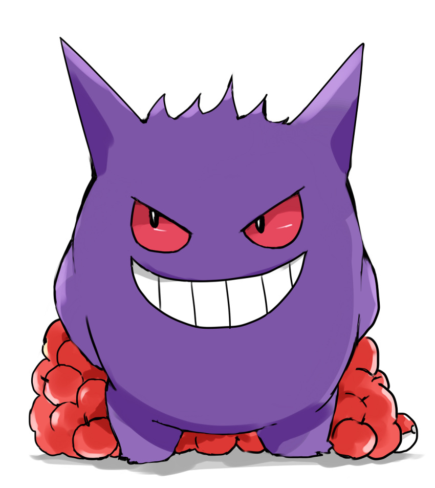 apple arms_behind_back commentary_request evil_grin evil_smile food fruit full_body gen_1_pokemon gengar grin highres looking_away looking_to_the_side looking_up no_humans poke_ball poke_ball_(generic) pokemon pokemon_(creature) red_apple red_eyes shadow smile standing tsukiyo_(skymint) white_background