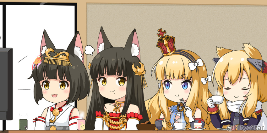 4girls :d :t animal_ear_fluff animal_ears azur_lane bangs bare_shoulders black_hair black_hairband blonde_hair blue_eyes blush bow brown_eyes cake closed_eyes closed_mouth commentary_request crown cup detached_sleeves dress eating epaulettes eye_contact eyebrows_visible_through_hair flat_screen_tv food fork fox_ears gloves grey_sleeves hair_bow hair_ears hairband headgear headpiece holding holding_cup holding_fork japanese_clothes juliet_sleeves kimono long_hair long_sleeves looking_at_another looking_to_the_side miicha mini_crown multiple_girls mutsu_(azur_lane) nagato_(azur_lane) open_mouth puffy_sleeves queen_elizabeth_(azur_lane) red_dress sleeveless sleeveless_kimono slice_of_cake smile strapless strapless_dress striped striped_hairband teacup television tilted_headwear twitter_username warspite_(azur_lane) white_bow white_gloves white_kimono white_sleeves yellow_eyes yunomi