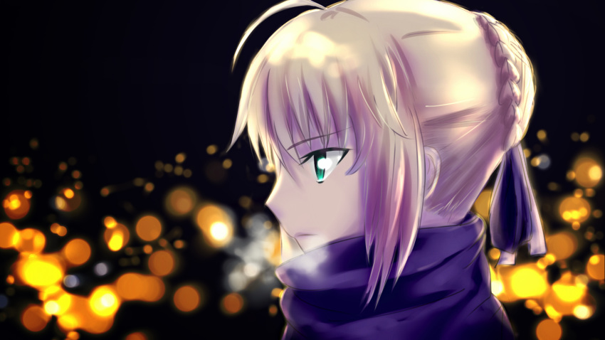 1girl ahoge artoria_pendragon_(all) blonde_hair blue_ribbon blue_scarf braid breath fate/grand_order fate/hollow_ataraxia fate/stay_night fate_(series) french_braid from_side green_eyes highres ribbon saber saber_ruri scarf solo type-moon ufotable upper_body