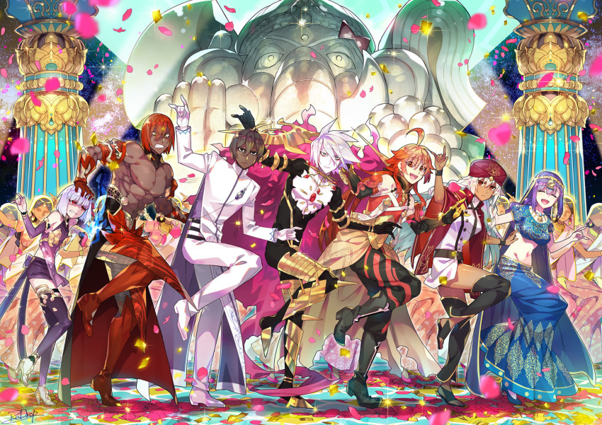 3girls 4boys ahoge arjuna_(fate/grand_order) ashwatthama_(fate/grand_order) bollywood brown_hair chest_jewel column country_connection dancing dark_skin dark_skinned_male faceless faceless_female fate/apocrypha fate/grand_order fate_(series) ganesha_(fate) gloves hand_on_another's_head hat highres india indian_clothes kama_(fate/grand_order) karna_(fate) lakshmibai_(fate/grand_order) long_skirt matou_sakura midriff multiple_boys multiple_girls navel pants parvati_(fate/grand_order) petals pillar purple_hair rama_(fate/grand_order) redhead redrop skirt statue thigh-highs white_gloves white_hair