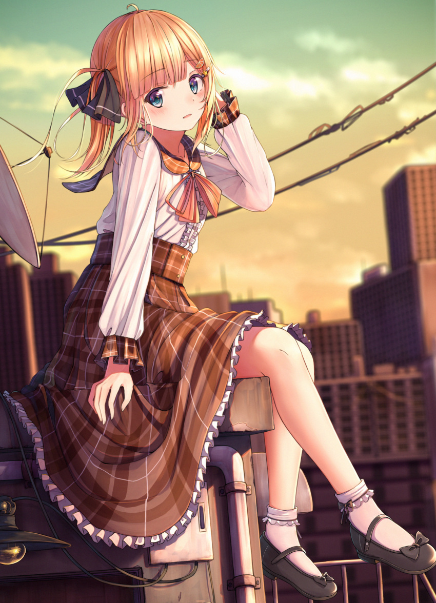 1girl absurdres ahoge black_footwear black_ribbon blonde_hair blue_eyes blurry blurry_background blush bobby_socks brown_sailor_collar brown_skirt building clouds commentary_request depth_of_field foot_dangle frilled_skirt frills hair_ribbon hand_up highres long_hair long_sleeves looking_at_viewer n2_(yf33) original outdoors parted_lips plaid plaid_sailor_collar plaid_skirt power_lines ribbon sailor_collar school_uniform serafuku shirt shoes sitting skirt sky socks solo sunset twintails white_legwear white_shirt