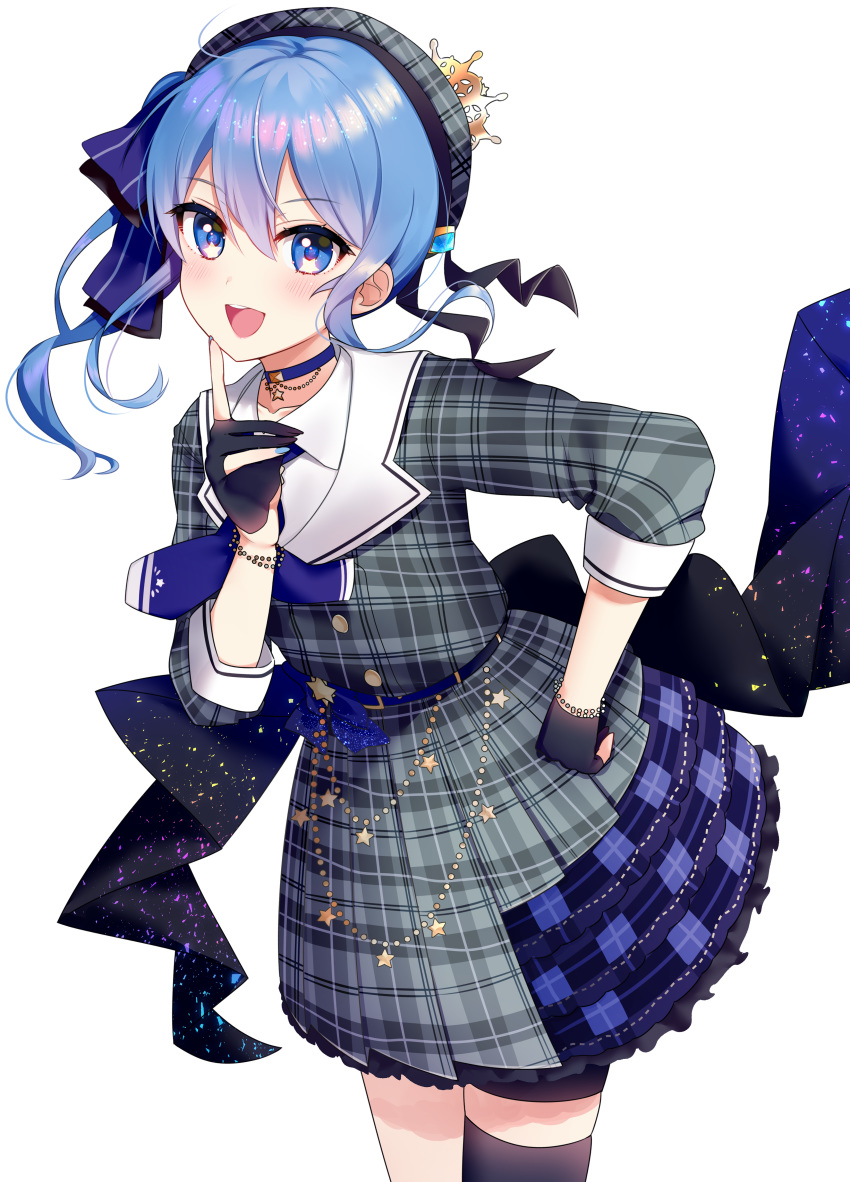 1girl :d absurdres bangs beret black_gloves black_legwear blue_bow blue_choker blue_eyes blue_hair blue_nails blue_neckwear blush bow choker collarbone collared_shirt eyebrows_visible_through_hair gloves grey_headwear grey_jacket grey_skirt hair_between_eyes hair_bow hand_on_hip hand_up hat highres hololive hoshimachi_suisei index_finger_raised jacket long_hair nail_polish neginoki open_mouth partly_fingerless_gloves plaid plaid_hat plaid_jacket plaid_skirt pleated_skirt round_teeth shirt side_ponytail simple_background single_thighhigh skirt smile solo star star_in_eye striped striped_bow suisei_channel symbol_in_eye teeth thigh-highs upper_teeth virtual_youtuber white_background white_shirt