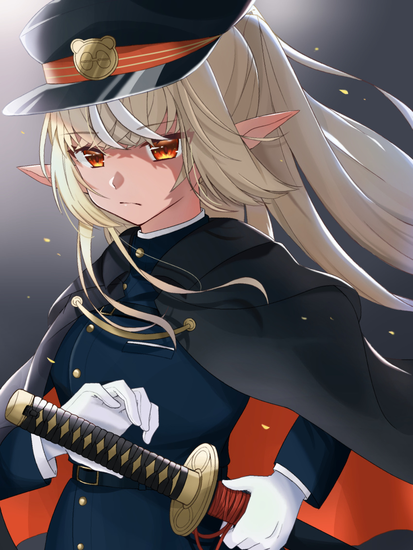 1girl belt black_background black_cloak black_headwear blonde_hair blue_coat breasts cloak closed_mouth coat cowboy_shot expressionless eyebrows_visible_through_hair gloves hat highres hololive katana light long_hair long_sleeves looking_at_viewer medium_breasts military military_hat military_uniform moonbell peaked_cap pointy_ears ponytail red_eyes scabbard sheath sheathed shiranui_flare simple_background solo sword uniform virtual_youtuber weapon white_gloves wind