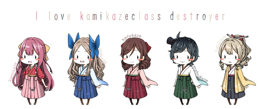 5girls :d ahoge anchor asakaze_(kantai_collection) bangs black_hair black_hakama blonde_hair blue_bow blue_hakama blush_stickers boots bow brown_footwear brown_hair chibi commentary_request cross-laced_footwear drill_hair english_text eyebrows_visible_through_hair full_body green_hakama hair_between_eyes hair_bow hair_ornament hair_ribbon hakama hakama_skirt harukaze_(kantai_collection) hat hatakaze_(kantai_collection) highres japanese_clothes kamikaze_(kantai_collection) kantai_collection kimono knee_boots lace-up_boots light_brown_hair long_hair long_sleeves looking_at_viewer matsukaze_(kantai_collection) meiji_schoolgirl_uniform mini_hat mini_top_hat multiple_girls open_mouth parted_bangs parted_lips pink_hair pink_hakama pink_kimono ponytail red_bow red_hakama red_kimono red_ribbon ribbon short_hair sidelocks simple_background sleeves_rolled_up smile standing swept_bangs tamaki. tasuki top_hat twin_drills upper_teeth wavy_hair white_background white_kimono wide_sleeves yellow_bow yellow_kimono