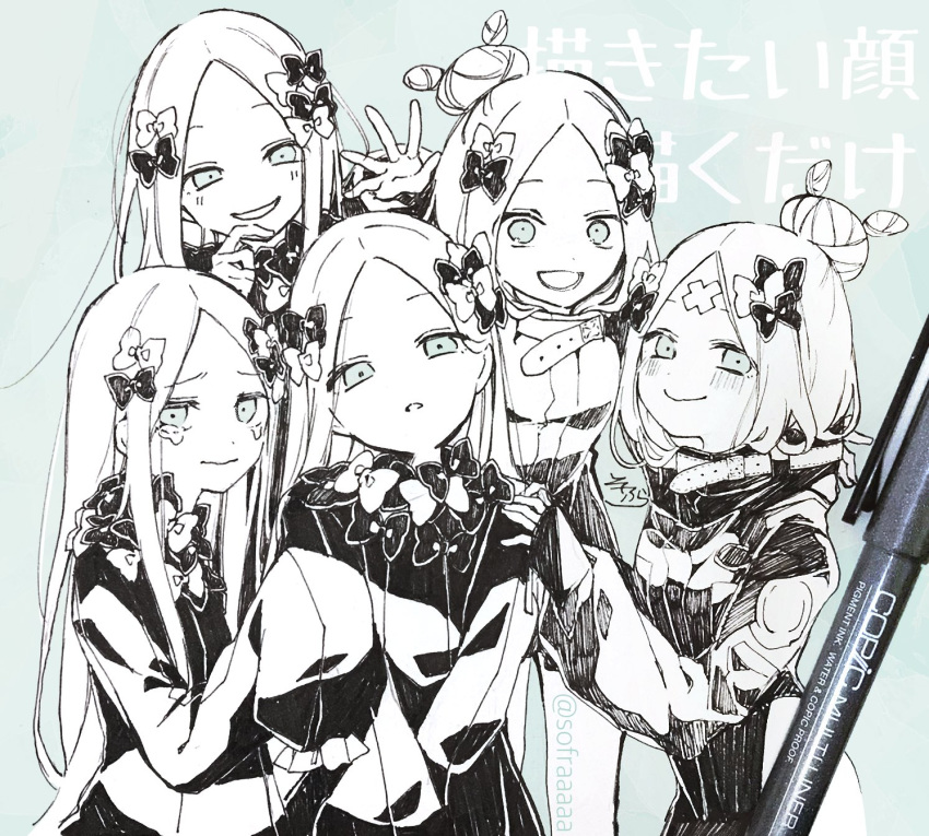 5girls :d abigail_williams_(fate/grand_order) background_text bangs blush bow closed_mouth crossed_bandaids crying crying_with_eyes_open dress eyebrows_visible_through_hair fate/grand_order fate_(series) forehead green_eyes hair_bow hair_bun hand_on_another's_shoulder heroic_spirit_traveling_outfit highres jacket long_sleeves monochrome multiple_girls no_hat no_headwear open_mouth parted_bangs parted_lips photo sleeves_past_fingers sleeves_past_wrists smile sofra spot_color tears traditional_media translation_request twitter_username