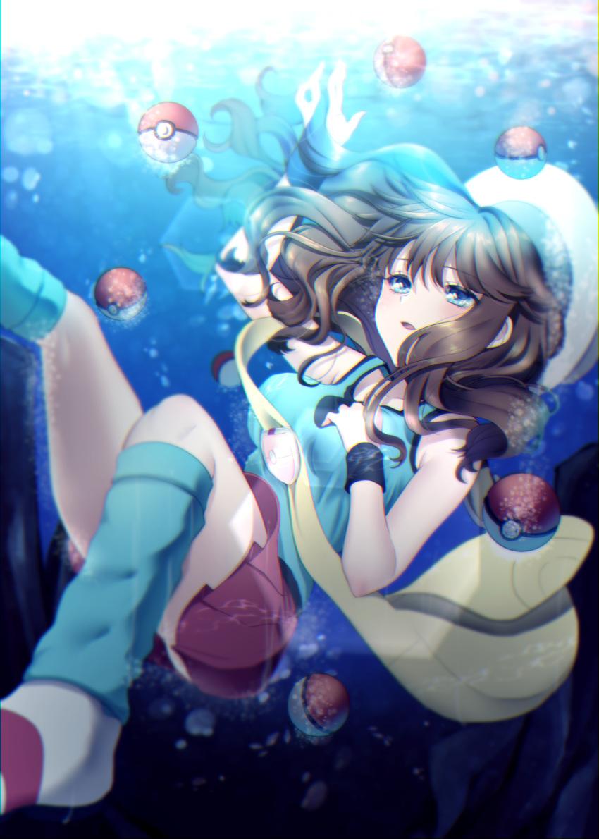 1girl blue_(pokemon) breasts brown_hair hat highres long_hair mokorei open_mouth poke_ball poke_ball_(generic) pokemon pokemon_special porkpie_hat skirt sleeveless solo