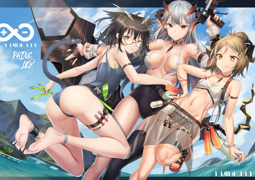 3girls :q absurdres ankle_strap antenna_hair arknights arm_strap ass ass_visible_through_thighs bangs bare_arms bare_legs bare_shoulders barefoot bikini black_choker black_hair black_legwear blonde_hair blue_sky breasts brown_eyes chinese_commentary choker clouds collarbone commentary_request covered_navel day detached_sleeves earrings feet_out_of_frame full_body glasses grey_swimsuit groin gun hair_between_eyes hair_bun hand_up highres holding holding_gun holding_weapon holster horns ifrit_(arknights) jewelry large_breasts letterboxed long_hair looking_at_viewer multiple_girls nail_polish navel one-piece_swimsuit orange_nails parted_lips pointy_hair red_choker red_eyes red_nails rhine_lab_logo sandals saria_(arknights) sarong see-through see-through_sleeves shield short_hair silence_(arknights) silver_hair single_thighhigh sky small_breasts smile stomach swimsuit tail thigh-highs thigh_holster thighs toenail_polish tongue tongue_out water weapon white_bikini xo_(xo17800108)