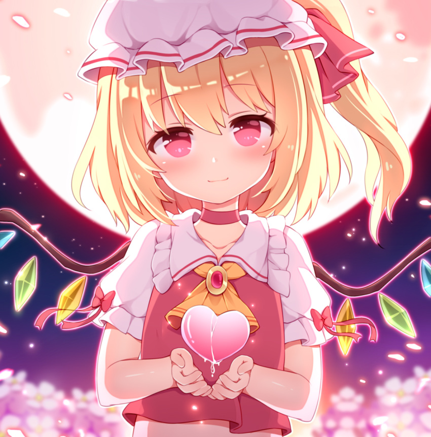 1girl ascot backlighting blonde_hair blush bow brooch chinese_commentary choker closed_mouth commentary_request crystal dripping flandre_scarlet flocflower flower frilled_shirt_collar frills hair_ribbon hat heart highres jewelry light_particles looking_at_viewer medium_hair mob_cap moon night night_sky one_side_up outline puffy_short_sleeves puffy_sleeves red_eyes red_ribbon red_vest ribbon shirt short_sleeves sky smile solo touhou upper_body vest white_shirt wings yellow_neckwear
