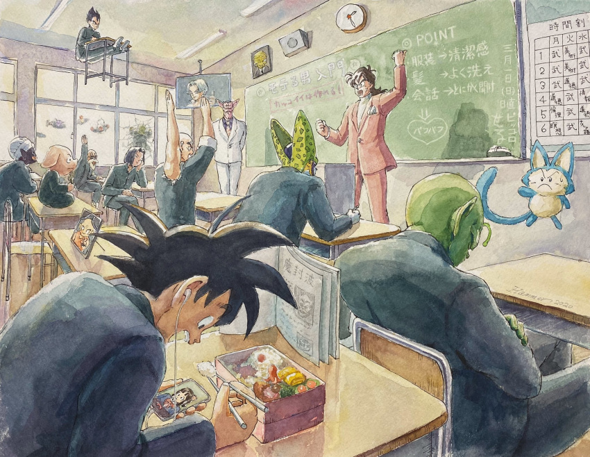2020 android_17 antennae arm_up artist_name babidi bald beard black_eyes black_hair broken_window burter captain_ginyu cell_(dragon_ball) cellphone chair chalkboard chi-chi_(dragon_ball) chopsticks classroom clock closed_eyes crash crossed_arms dabura desk dragon_ball dragon_ball_z earphones earrings eating extra_arms facial_hair facial_mark facial_scar floating flying food forehead_mark formal gakuran ginyu_force green_skin guldo hammar_dobucof highres horns indian_style jeice jewelry kuririn levitation long_hair mister_popo mutaito_(dragon_ball) muten_roushi necktie obentou on_desk oolong open_mouth perfect_cell phone photo_(object) piccolo podium pointing pointy_ears puar recoome scar scar_on_cheek school_chair school_desk school_uniform signature sitting sitting_on_desk smartphone son_gokuu suit sunglasses television tenshinhan thumbs_up traditional_media translation_request trunks_(future)_(dragon_ball) turban vegeta watercolor_(medium) white_hair white_suit yamcha