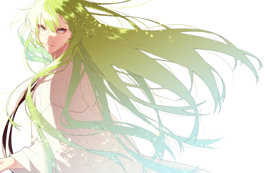 1boy androgynous bangs enkidu_(fate/strange_fake) fate_(series) floating_hair from_side green_eyes green_hair highres hukahire0313 long_hair looking_at_viewer looking_to_the_side male_focus parted_lips robe simple_background smile solo sparkle upper_body very_long_hair white_background wind