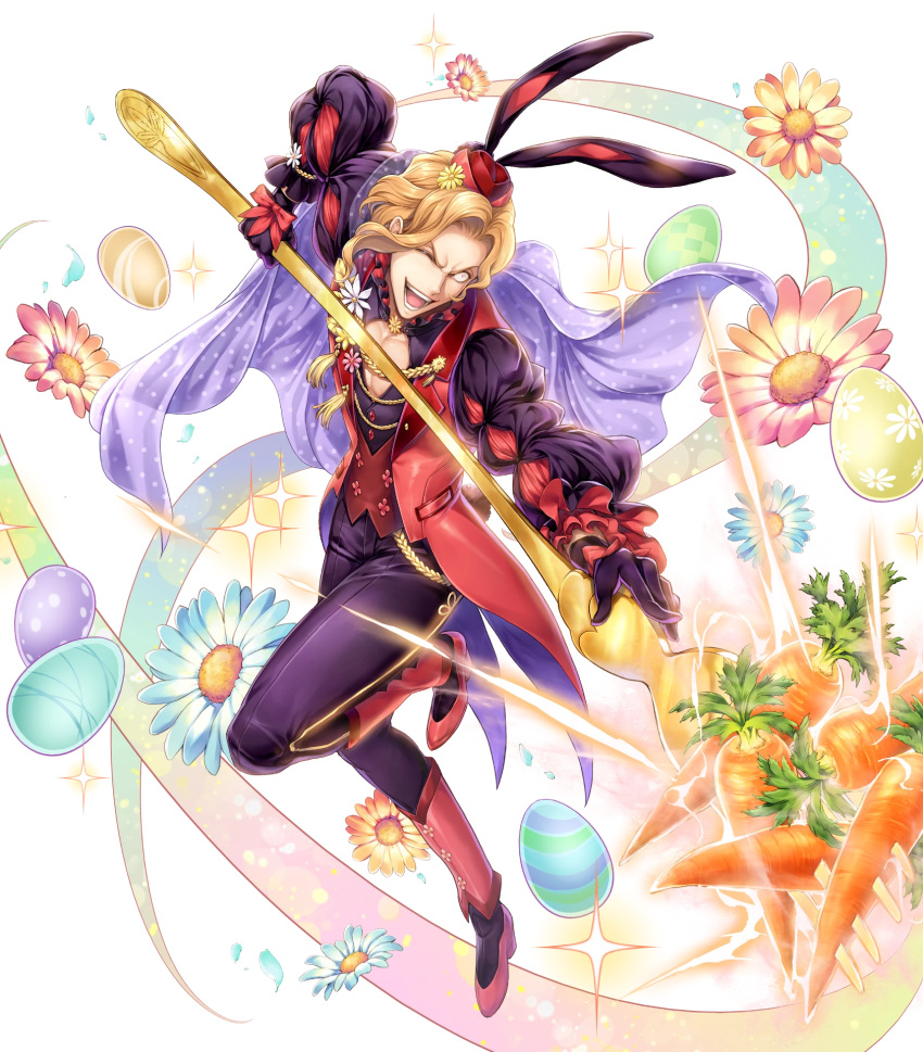 1boy alternate_costume animal_ears blonde_hair boots bow cape carrot easter_egg egg fire_emblem fire_emblem:_the_binding_blade fire_emblem_heroes flower fork full_body gloves hat highres leaf narcian_(fire_emblem) official_art one_eye_closed open_mouth rabbit_ears solo sparkle teeth transparent_background yamada_koutarou yellow_eyes