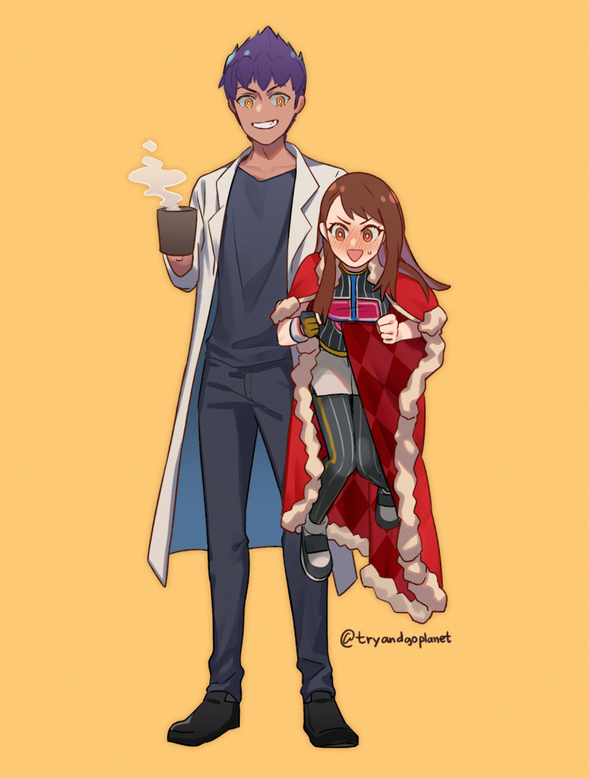 1boy 1girl bangs black_footwear black_hair black_legwear black_pants black_shirt blush brown_eyes brown_hair cape carrying_under_arm chanman_517 clenched_hands coat coffee_mug cup dark_skin embarrassed gloves grin highres holding holding_cup holding_person hop_(pokemon) labcoat long_hair looking_at_viewer miniskirt mug older open_mouth orange_gloves pants pantyhose pencil_skirt pokemon pokemon_(game) pokemon_swsh red_cape shirt shoes single_glove skirt smile standing steam striped striped_legwear striped_shirt sweatdrop vertical-striped_legwear vertical-striped_shirt vertical_stripes white_coat white_skirt wristband yellow_eyes yuuri_(pokemon)