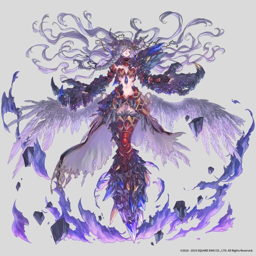 1girl armor aureolin31 bikini_armor braid crown_of_thorns feather_hair_ornament fire hair_ornament highres long_hair midriff navel official_art purple_fire red_armor silver_hair simple_background solo square_enix stone thigh-highs thorns valkyrie_anatomia wings