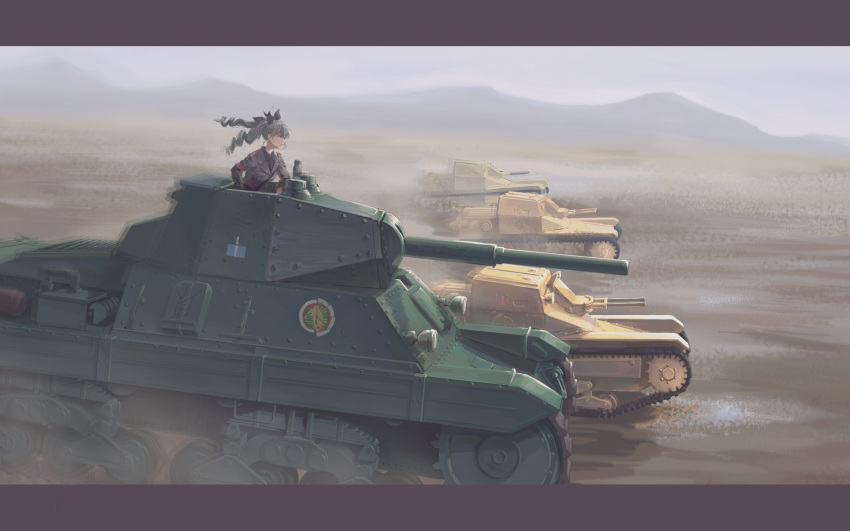 1girl anchovy_(girls_und_panzer) anzio_(emblem) anzio_military_uniform bangs belt black_neckwear black_ribbon black_shirt blurry blurry_background carro_armato_p40 carro_veloce_cv-33 closed_mouth commentary day depth_of_field dress_shirt drill_hair driving emblem girls_und_panzer green_hair grey_jacket grey_sky ground_vehicle hair_ribbon highres jacket letterboxed long_hair long_sleeves looking_to_the_side military military_uniform military_vehicle motion_blur motor_vehicle mountain necktie outdoors ribbon sam_browne_belt shirt solo tank twin_drills twintails uniform useless wind wing_collar
