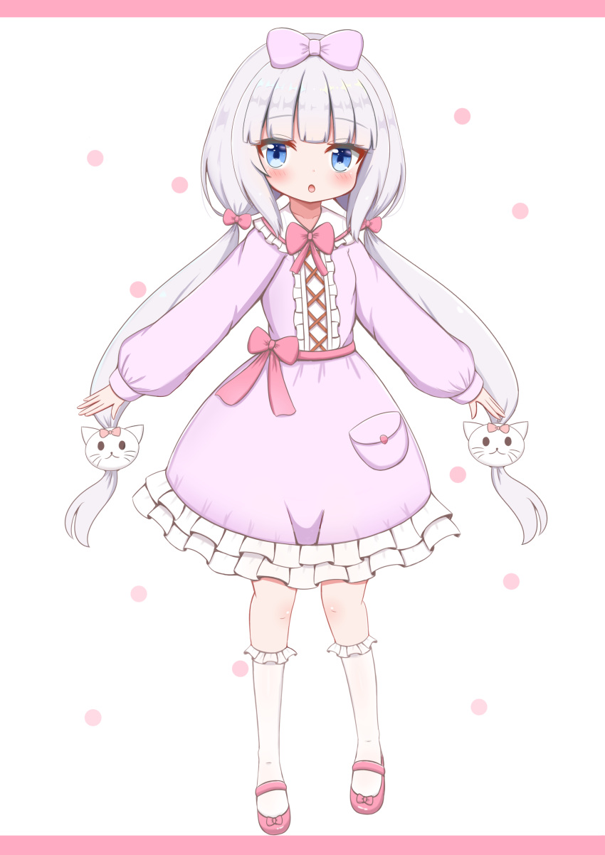 1girl :o absurdres bangs blue_eyes blush bow cat_hair_ornament collarbone collared_dress commentary_request dress eyebrows_visible_through_hair frilled_dress frilled_legwear frilled_shirt_collar frills full_body hair_ornament highres jiu_(sdesd3205) kneehighs long_hair long_sleeves looking_at_viewer low_twintails original parted_lips pink_background pink_bow pink_footwear puffy_long_sleeves puffy_sleeves purple_bow purple_dress red_bow shoes silver_hair sleeves_past_wrists solo standing twintails two-tone_background very_long_hair white_background white_legwear