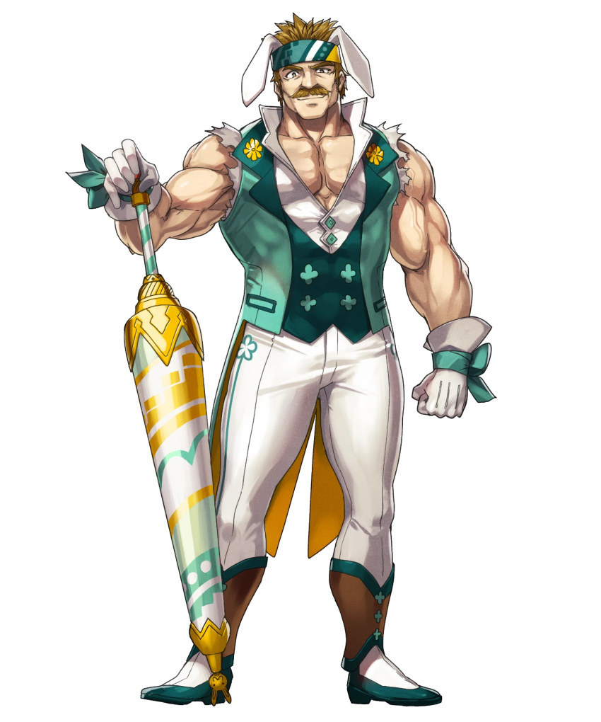 1boy alternate_costume animal_ears bartre_(fire_emblem) boots bow brown_eyes brown_hair dai-xt facial_hair fire_emblem fire_emblem:_the_binding_blade fire_emblem_heroes flower full_body gloves headband highres muscle mustache official_art rabbit_ears solo transparent_background