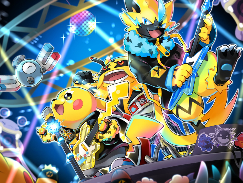 black_eyes blue_eyes claws clothed_pokemon creature drum drum_set electivire electric_guitar fangs gen_1_pokemon gen_2_pokemon gen_3_pokemon gen_4_pokemon gen_7_pokemon guitar holding holding_instrument instrument loudred magnemite microphone mobbbt music no_humans pikachu playing_instrument pokemon pokemon_(creature) qwilfish red_eyes standing zeraora