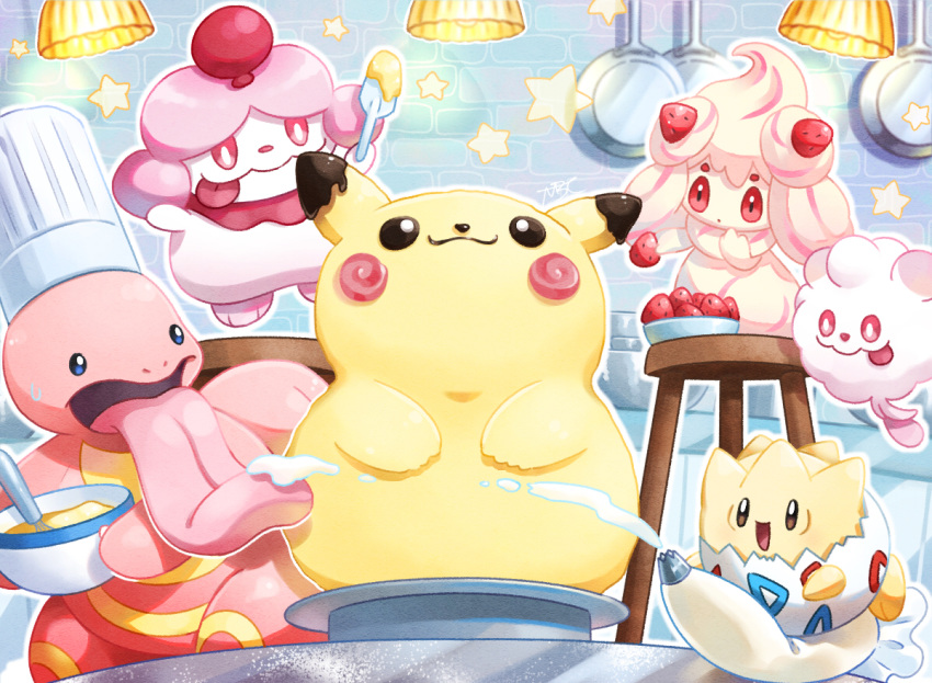 alcremie bowl brown_eyes chef_hat commentary_request creature food fruit gen_1_pokemon gen_6_pokemon gen_8_pokemon hat hatted_pokemon holding holding_bowl holding_food holding_fruit holding_spatula indoors lickitung mobbbt no_humans pikachu pokemon pokemon_(creature) slurpuff spatula strawberry swirlix whipped_cream
