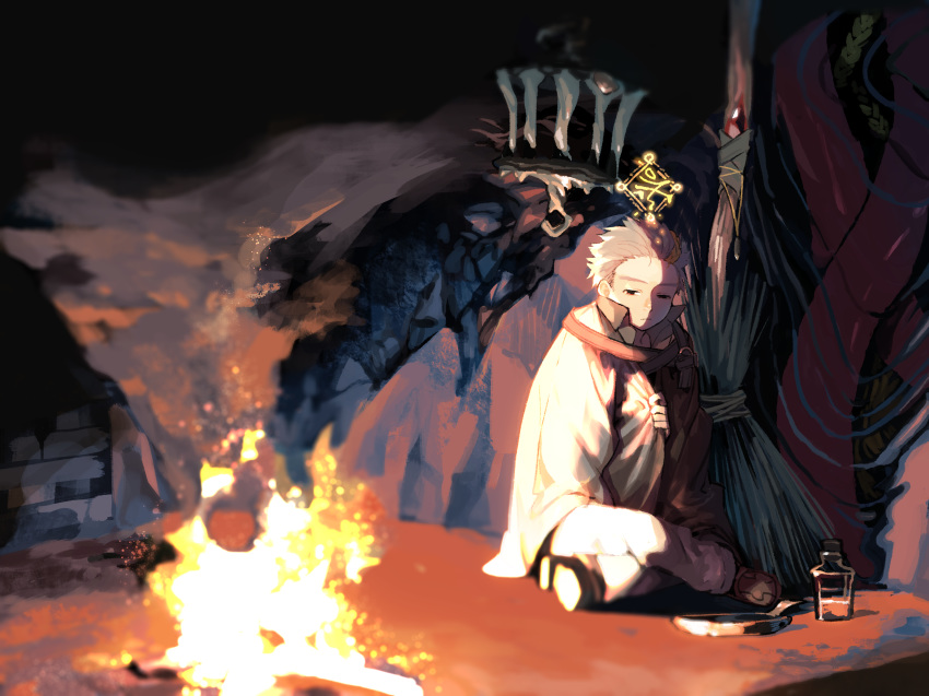 1boy aynoh blonde_hair bottle braid broom cage campfire closed_mouth fire floating frying_pan gem grey_hair hair_slicked_back half-closed_eyes highres jewelry liquid male_focus multicolored multicolored_hair necklace night pixiv_fantasia pixiv_fantasia_age_of_starlight potion red_eyes sitting sleeping