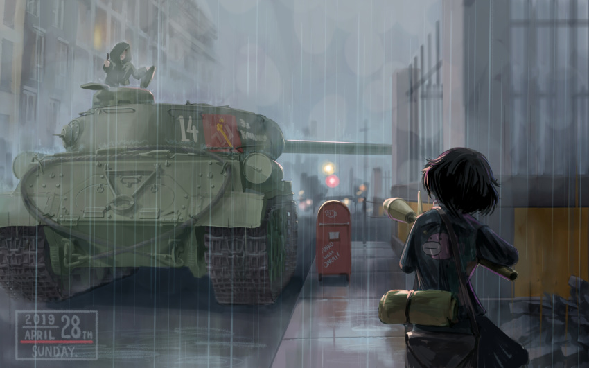 1girl 1other akiyama_yukari anglerfish bag bangs blue_jacket brown_hair building commentary emblem english_text from_behind german_commentary german_text girls_und_panzer ground_vehicle highres holding holding_weapon is-2 jacket long_sleeves looking_at_another messy_hair military military_vehicle motor_vehicle night ooarai_military_uniform outdoors panzerfaust pravda_(emblem) rain raincoat road russian_text satchel short_hair standing street tank traffic_light translated useless weapon