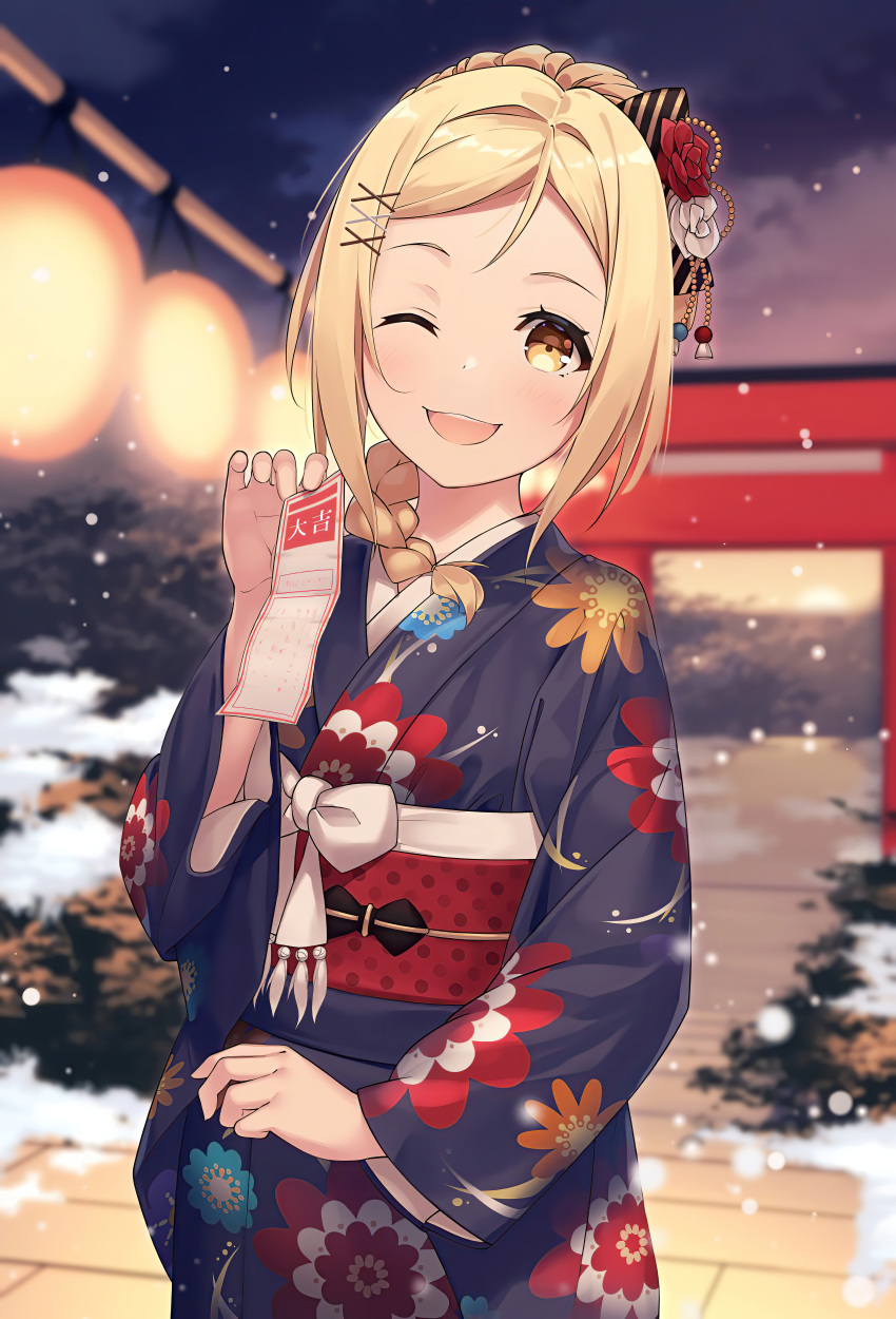 >_o 1girl :d ;d absurdres blonde_hair blush bow focused highres horse_tail huge_filesize japanese_clothes kimono kyouou_ena long_sleeves looking_at_viewer love_live! love_live!_sunshine!! ohara_mari one_eye_closed open_mouth short_hair smile snowing solo tail yellow_eyes yukata