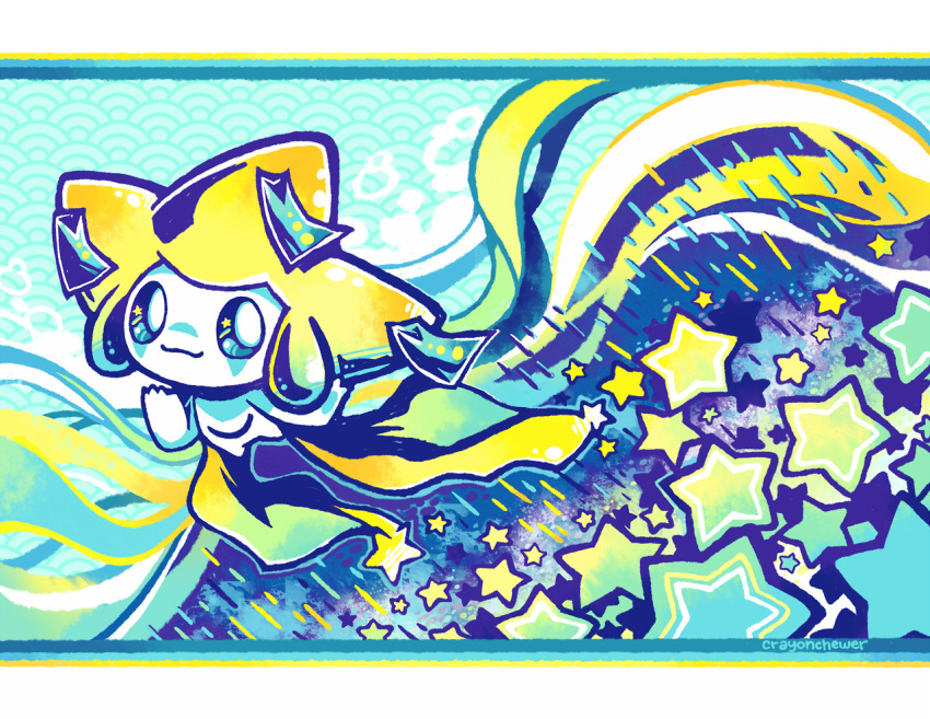 closed_mouth commentary commentary_request crayonchewer creature full_body gen_3_pokemon jirachi letterboxed looking_at_viewer no_humans pokemon pokemon_(creature) smile solo star