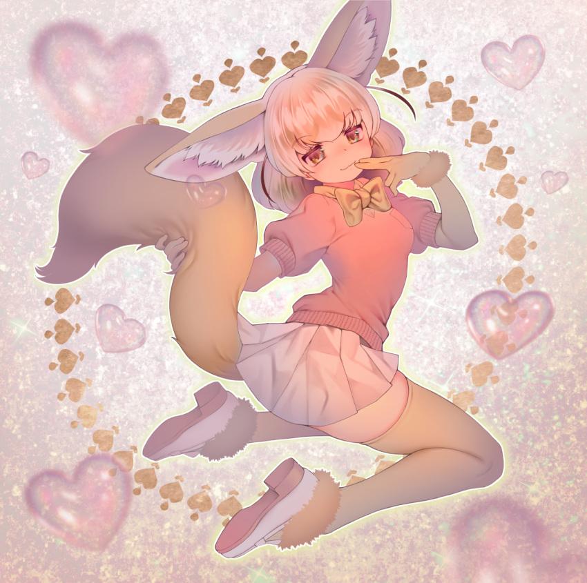 1girl animal_ear_fluff animal_ears bangs blonde_hair blush bow bowtie breasts extra_ears eyebrows_visible_through_hair fennec_(kemono_friends) fox_ears fox_girl fox_tail full_body fur_trim heart highres kemono_friends mifu_(b24vc1) pink_sweater pleated_skirt puffy_short_sleeves puffy_sleeves short_hair short_sleeves skirt smile solo sweater tail thigh-highs thighs white_footwear white_skirt yellow_legwear yellow_neckwear