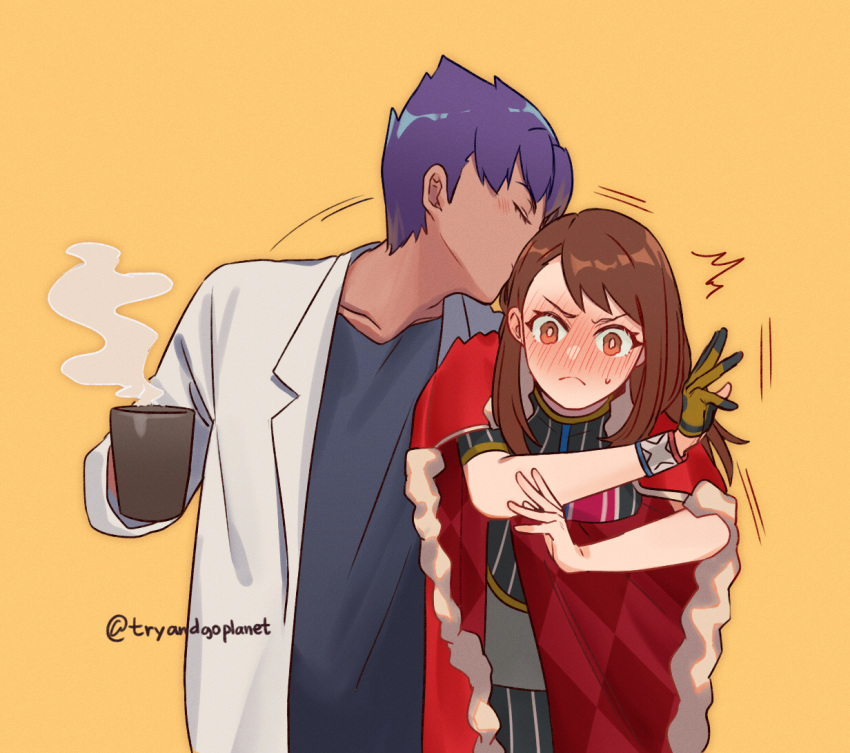 /\/\/\ 1boy 1girl bangs black_hair black_legwear black_shirt blush brown_eyes brown_hair cape carrying_under_arm chanman_517 closed_eyes closed_mouth coat coffee_mug cup dark_skin embarrassed frown gloves grin hetero holding holding_cup holding_person hop_(pokemon) kiss labcoat long_hair miniskirt motion_lines mug older open_mouth orange_background orange_gloves pantyhose pencil_skirt pokemon pokemon_(game) pokemon_swsh red_cape shirt short_hair short_sleeves single_glove skirt smile steam striped striped_legwear striped_shirt sweatdrop vertical-striped_legwear vertical-striped_shirt vertical_stripes white_coat white_skirt wristband yuuri_(pokemon)